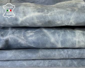 DENIM BLUE CRINKLE wrinkle antiqued rustic vegetable tan vintage look Italian goatskin goat leather pack 2 skins total 12sqf 1.0mm #A8168