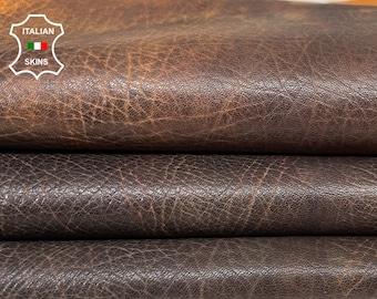 ORANGE DISTRESSED GRAINY  antiqued vegetable tan thick Italian goatskin goat leather skin skins hide hides 7sqf 1.2mm #A8429