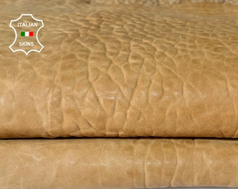 SAND TAN BUBBLY grainy thick vegetable tan Italian Lambskin Lamb sheep leather skin skins hide hides 5sqf 1.5mm #A7685