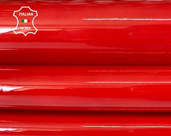CORAL RED PATENT shiny wet look Italian calfskin calf cow leather hide hides skin pack 2 skins total 6sqf 1.1mm #A8238