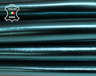 METALLIC TEAL petrol green blue Italian smooth Goatskin Goat Leather skin skins hide material for sewing crafts 3-9sqf 0.9mm #A6034
