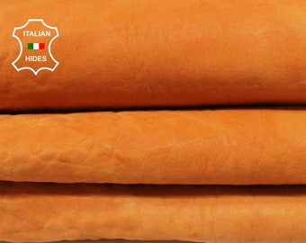 WASHED ORANGE natural grainy thick vegetable tan vintage look Italian Lambskin Lamb Sheep Leather 2 skins total 7sqf 1.5mm #A7224