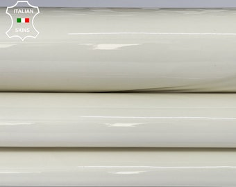 IVORY PATENT SHINY wet look strong Italian calfskin calf cow leather hide hides skin pack 2 skins total 6sqf 1.3mm #A8218