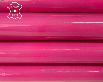FUCHSIA  PATENT shiny wet look Italian calfskin calf cow soft leather hide hides skin pack 3 skins total 15sqf 1.0mm #A8197
