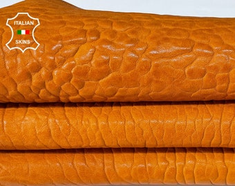 NATURAL TAN BUBBLY grainy thick vegetable tanned Italian Lambskin Lamb sheep leather skin skins hide 6sqf 1.8mm #A7687