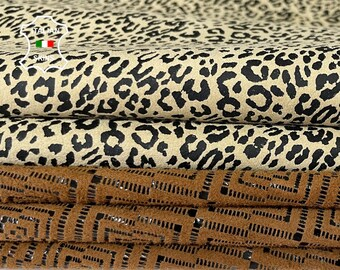 LEOPARD & EYE ATTRACTION textured thin soft Italian lambskin sheep leather skin skins hide hides total of 2 skins 7sqf 0.4mm #A8077