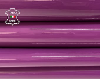 VIOLET PURPLE MAUVE patent shiny wet look Italian calfskin calf cow leather hide hides skin pack 2 skins total 7sqf 1.1mm #A8202