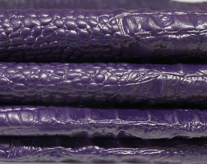 Italian Lambskin leather skin skins hide hides PURPLE CROCODILE Alligator embossed 6sqf