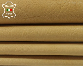 MUSTARDY LIGHT TAN vegetable tan grainy Italian genuine Lambskin Lamb Sheep leather 4 skins hides total 18sqf 1.3mm #A3831