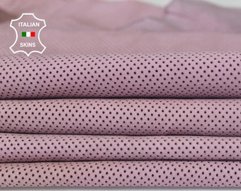 PINK PINHOLES PERDORATED  soft Italian Lambskin Lamb Sheep leather 2 skins total 8sqf 0.6mm #A6633