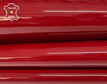 RUBY RED PATENT shiny wet look Italian calfskin calf cow strong leather hide hides skin pack 3 skins total 12sqf 1.1mm #A8246