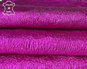 METALLIC FUCHSIA CRISPY antiqued crinkled vegetable tan Italian lambskin sheep leather skin skins hide hides 5sqf 0.8mm #A8055