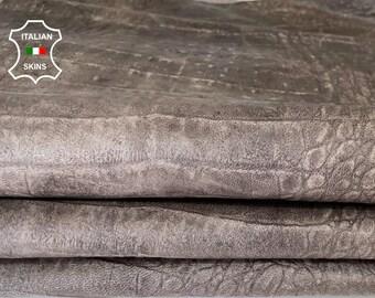 TAUPE ANTIQUED CROCODILE embossed textured rustic vintage look  vegetable tan Italian goatskin goat leather skin hide 10sqf 0.7mm #A7976