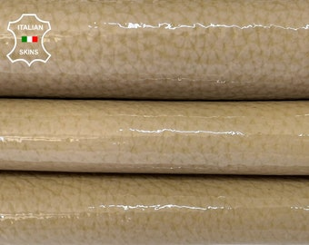 BEIGE GRAINY PATENT shiny wet look Italian calfskin calf cow thick leather hide hides skin pack 2 skins total 5sqf 1.5mm #A8255