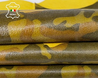 CAMO PRINT on YELLOW army crackle camouflage crackled soft Italian Lambskin Lamb Sheep leather skin skins 5sqf 0.8mm #A7625