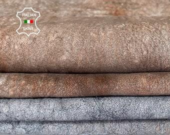 GREY & BROWN very vintage look soft Italian lambskin lamb sheep leather hides 2 skins total 10sqf 1.0mm #A8278