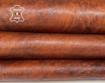 COGNAC BROWN BRUSHED antiqued shiny vegetable tan Italian goatskin goat leather skin skins hide hides 6sqf 1.1mm #A8428