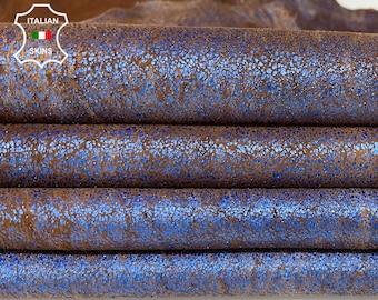 METALLIC BLUE CRACKLE crackled distressed stonewash vintage look Italian Lambskin Lamb Sheep leather 2 skins total 10sqf 1.0mm #A7724