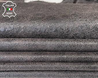 DARK BROWN ANTIQUED crackled vintage stonewash look distressed soft Italian Lambskin Lamb Sheep leather 2 skins total 12sqf 0.8mm #A7882