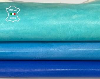 AQUAMARINE BLUE sea green colors patent crinkle Italian Lambskin Lamb Sheep leather hide hides skin skins 5sqf 0.7mm #A8131