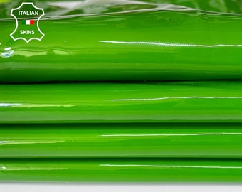 GREEN EXOTIC PATENT shiny wet look Italian calfskin calf cow leather hide hides skin pack 2 skins total 6sqf 0.9mm #A8222