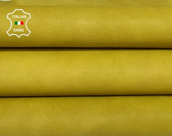 MUSTARDY YELLOW ROUGH  vegetable tan Italian goatskin goat leather skin pack 2 skins total 10sqf 1.2mm #A8421