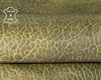 MUSTARD YELLOW ANTIQUED bubbly grainy thick Italian lambskin sheep leather skin skins hide hides 6sqf 1.8mm #A8069
