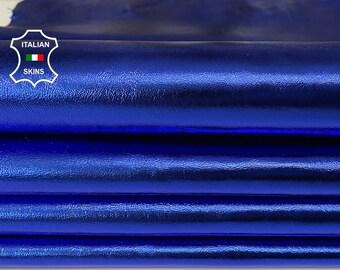METALLIC TRUE BLUE Italian Lambskin Lamb Sheep leather 2 skins total 12sqf 0.7mm #A7903