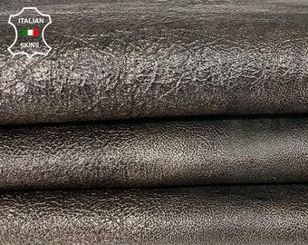 METALLIC PLATINUM CRISPY  antiqued crinkled vegetable tan thick Italian lambskin sheep leather skin skins hide hides 8sqf 1.2mm #A8052