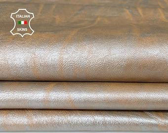 METALLIC SILVER DISTRESSED on Peach vintage look soft Italian Lambskin Lamb Sheep leather skin skins hide hides 8sqf 1.0mm #A7769
