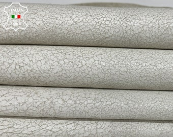 WHITE CRACKLED crackle stonewash vintage look Italian Lambskin Lamb sheep leather 2 skins hides total 14sqf 0.8mm #A7887