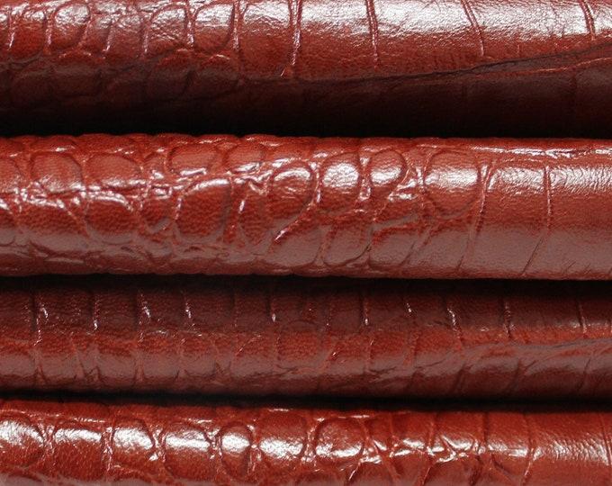 COGNAC REDDISH BROWN Crocodile Embossed Italian genuine Goatskin Goat leather skins hides 0.5mm to 1.2mm