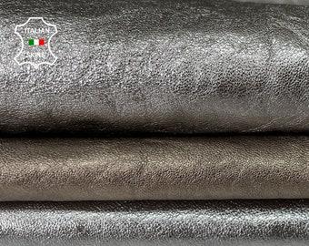 PACK 3 SKINS METALLIC silver chrome platinum rough Italian goatskin goat leather skin skins hide hides total 3 skins 10sqf 1.0mm #A8048