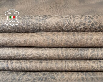 RHINO GRAINY TAUPE grey distressed stonewash vintage look vegetable tan lambskin lamb sheep leather 4 skins total 20sqf 0.8mm #A8283