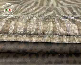 PACK 2 SKINS Leopard & Zebra print thin soft Italian Lambskin Lamb Sheep leather 2 hides total 9sqf 0.5mm #A8133