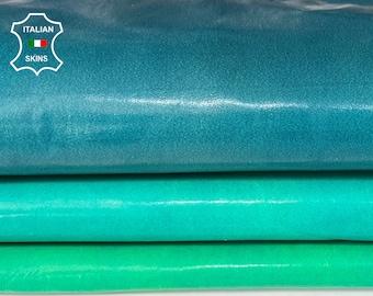 SEA BLUE GREEN patent crinkle Italian Lambskin Lamb Sheep leather hide hides skin skins 6sqf 0.6mm #A8130