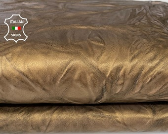 OLD GOLD WASHED wrinkled brass rustic antiqued vegetable tan thick Italian goatskin goat leather skin hide 7sqf 1.4mm #A7981