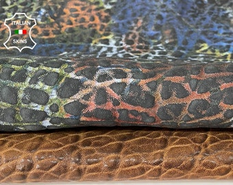pack 2 skins BROWN & MULTICOLOR bubbly grainy thick Italian lambskin sheep leather skin skins hide hides total 2 skins 7sqf 1.8mm #A8068