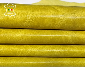 MUSTARD YELLOW shiny crinkled vegetable tan vintage look Italian Goatskin Goat leather 2 skins total 6sqf 0.8mm  #A7552