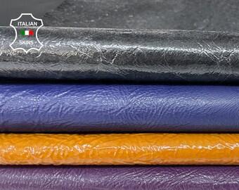 PATENT PACK 4 COLORS crinkled shiny blue purple tan gunmetal Italian Lambskin Lamb Sheep leather 4 skins total 24sqf 1.0mm #A7772