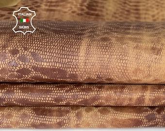 BROWN SNAKE print textured stonewash vintage look soft Italian Lambskin Lamb Sheep leather skin hide skins hides 5sqf 0.5mm #A8135