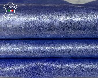 METALLIC SILVER on BLUE distressed vintage look Italian Lambskin Lamb Sheep leather skin skins hide hides 7sqf 0.9mm #A7562