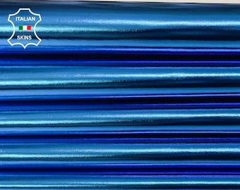 METALLIC BLUE AZURE Italian lambskin Lamb Sheep leather skin skins hide hides 5-7sqf 0.8mm