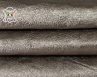 METALLIC PEWTER CRISPY thick strong Italian goatskin goat leather skin skins hide hides 2 skins total 15sqf 1.4mm #A8059