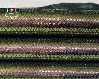 METALLIC SNAKE holographic Green & Plum Italian Lambskin Lamb Sheep leather skins hides 5-6sqf 0.5mm #A7635