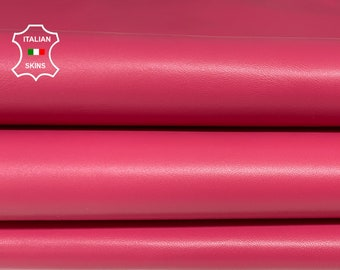 ROSE PINK smooth Italian Lambskin Lamb Sheep leather 3 skins hides total 15sqf 0.8mm #A7514