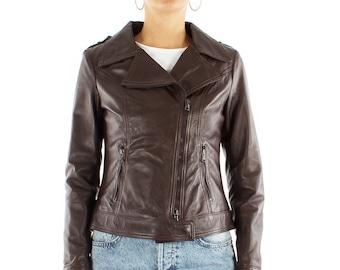 Italian handmade Women genuine soft Lambskin lamb leather biker jacket slim fit Dark Brown