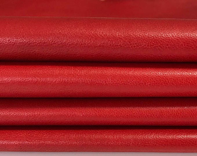 RED Italian soft genuine lambskin lamb sheep leather for sewing hide skin skins hides