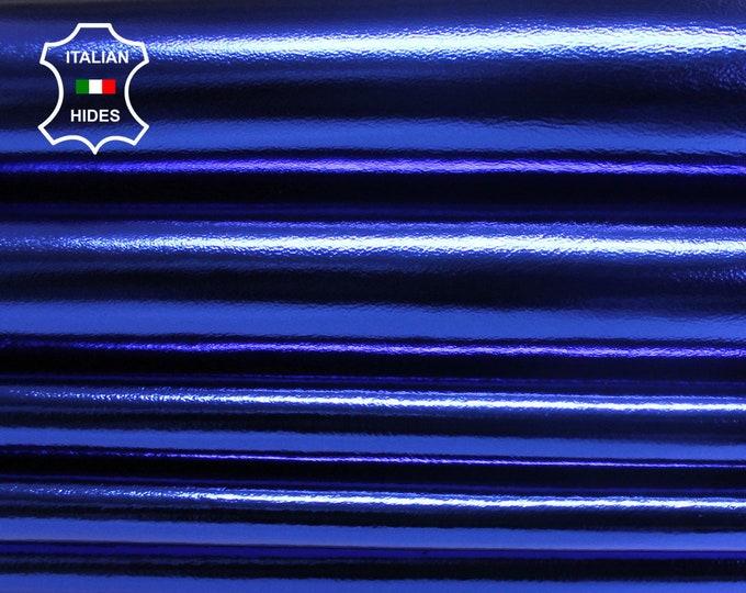METALLIC ROYAL BLUE Italian lambskin Lamb Sheep leather skin skins hide 0.7mm