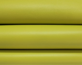 LIME YELLOW Italian genuine Lambskin Lamb Sheep leather skins hides 0.5mm to 1.2mm